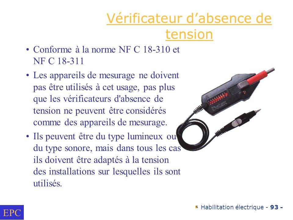 Habilitation électrique - 93 - Vérificateur dabsence de tension Conforme à la norme NF C 18-310 et NF C 18-311 Les appareils de mesurage ne doivent pa