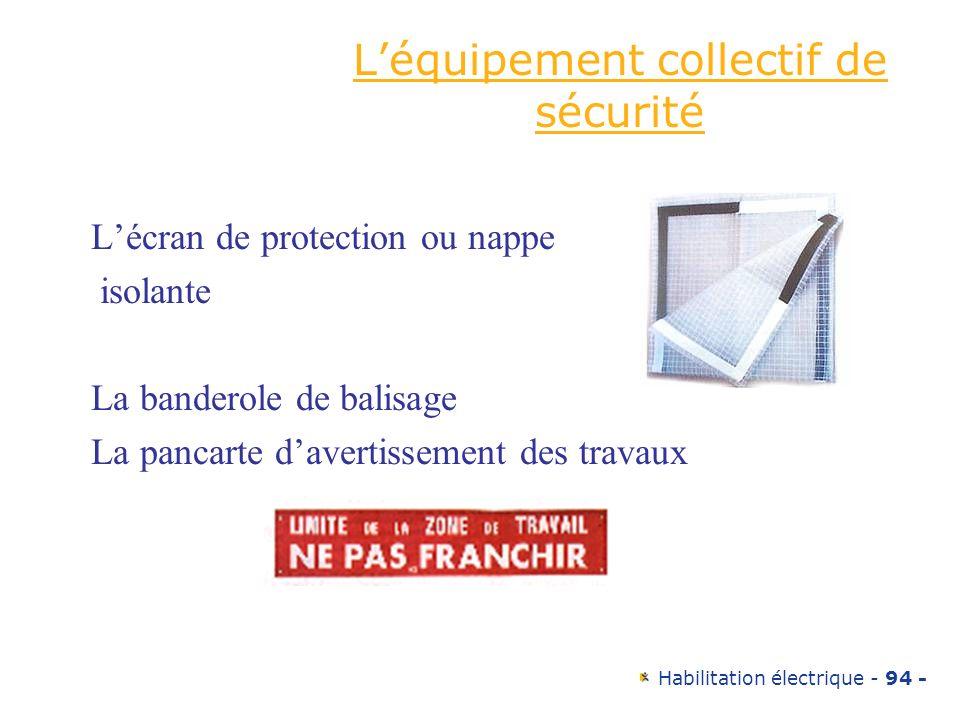 Habilitation électrique - 94 - Léquipement collectif de sécurité Lécran de protection ou nappe isolante La banderole de balisage La pancarte davertiss