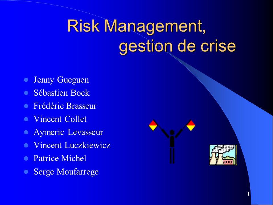 1 Risk Management, gestion de crise Jenny Gueguen Sébastien Bock Frédéric Brasseur Vincent Collet Aymeric Levasseur Vincent Luczkiewicz Patrice Michel