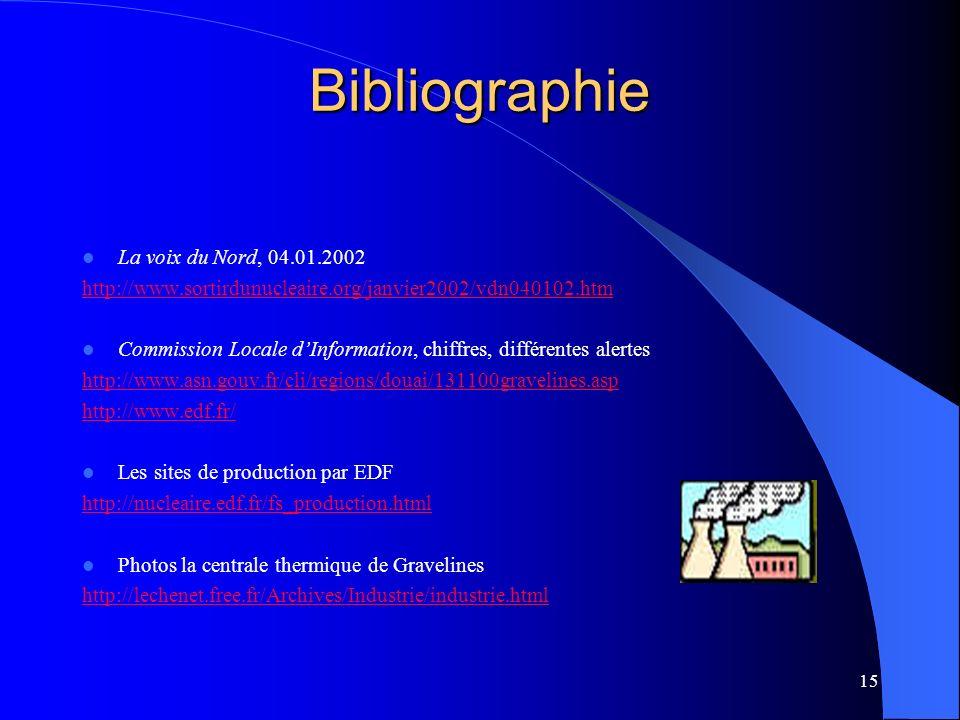 15 Bibliographie La voix du Nord, 04.01.2002 http://www.sortirdunucleaire.org/janvier2002/vdn040102.htm Commission Locale dInformation, chiffres, diff