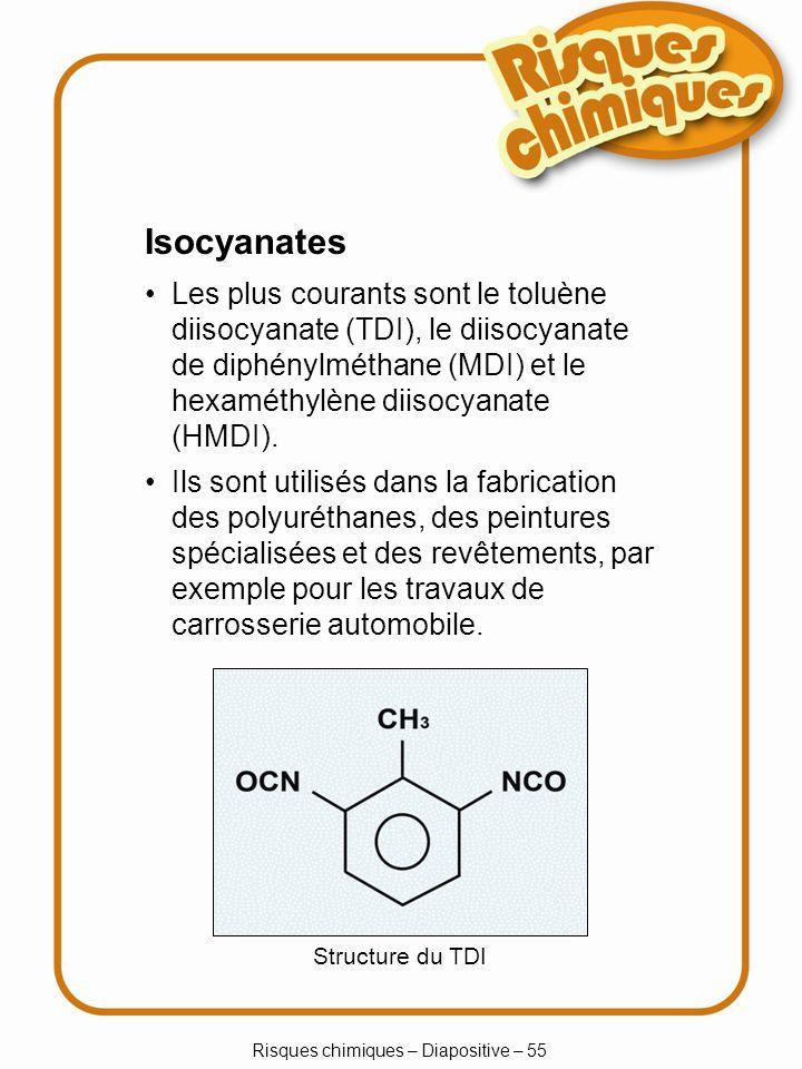 Risques chimiques – Diapositive – 55 Isocyanates Les plus courants sont le toluène diisocyanate (TDI), le diisocyanate de diphénylméthane (MDI) et le