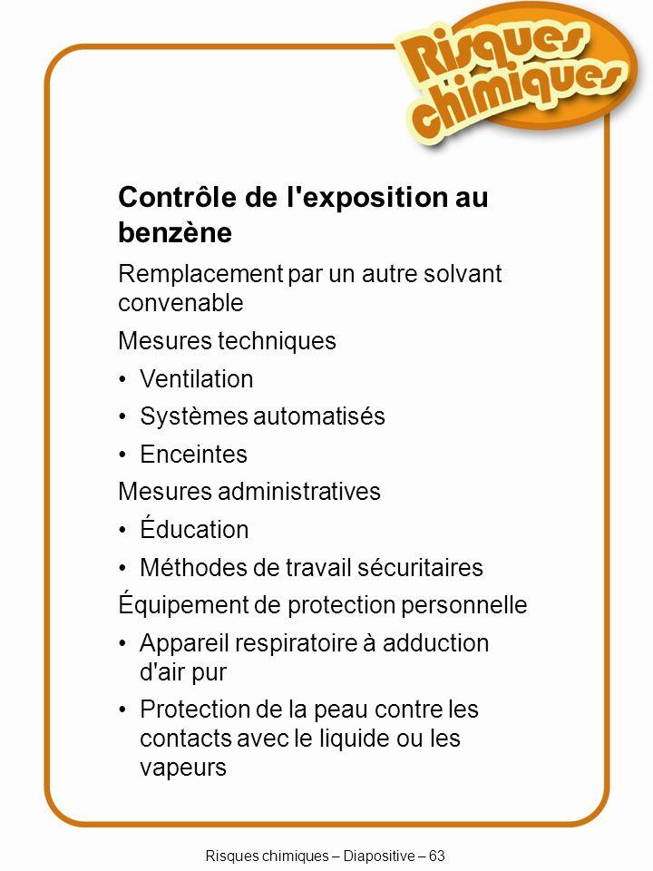 Risques chimiques – Diapositive – 63 Mesures techniques Ventilation Systèmes automatisés Enceintes Mesures administratives Éducation Méthodes de trava