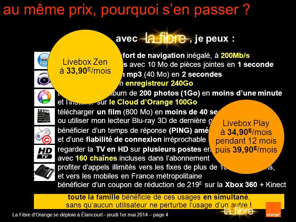 La Fibre dOrange se déploie à Élancourt – jeudi 1er mai 2014 – page 4 avec, je peux : bénéficier dun confort de navigation inégalé, à 200Mb/s et envoy