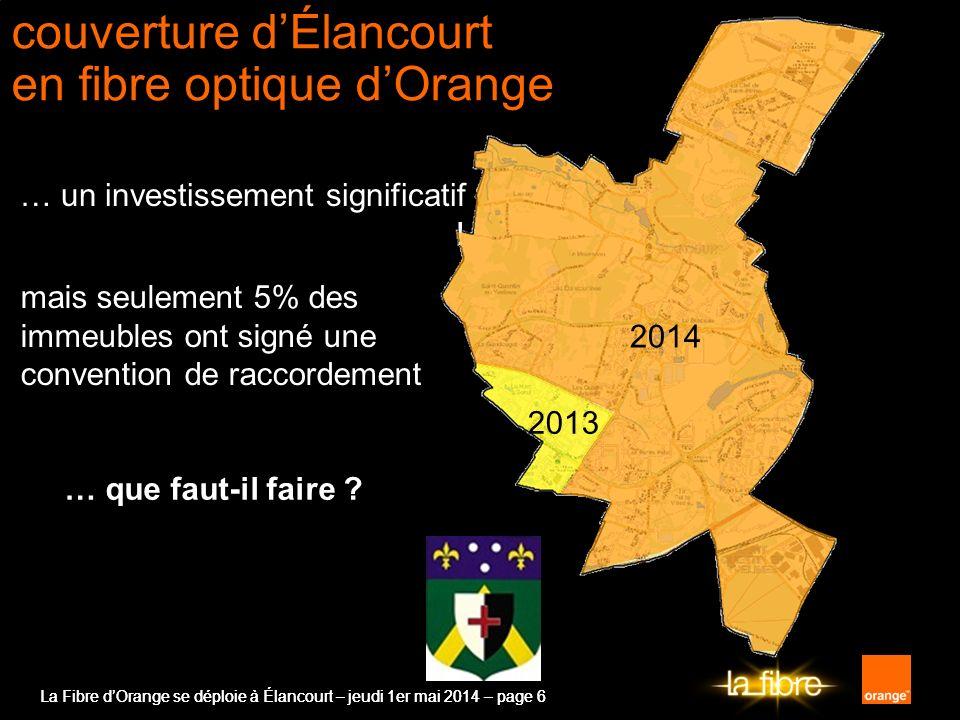 La Fibre dOrange se déploie à Élancourt – jeudi 1er mai 2014 – page 6 … un investissement significatif ! couverture dÉlancourt en fibre optique dOrang
