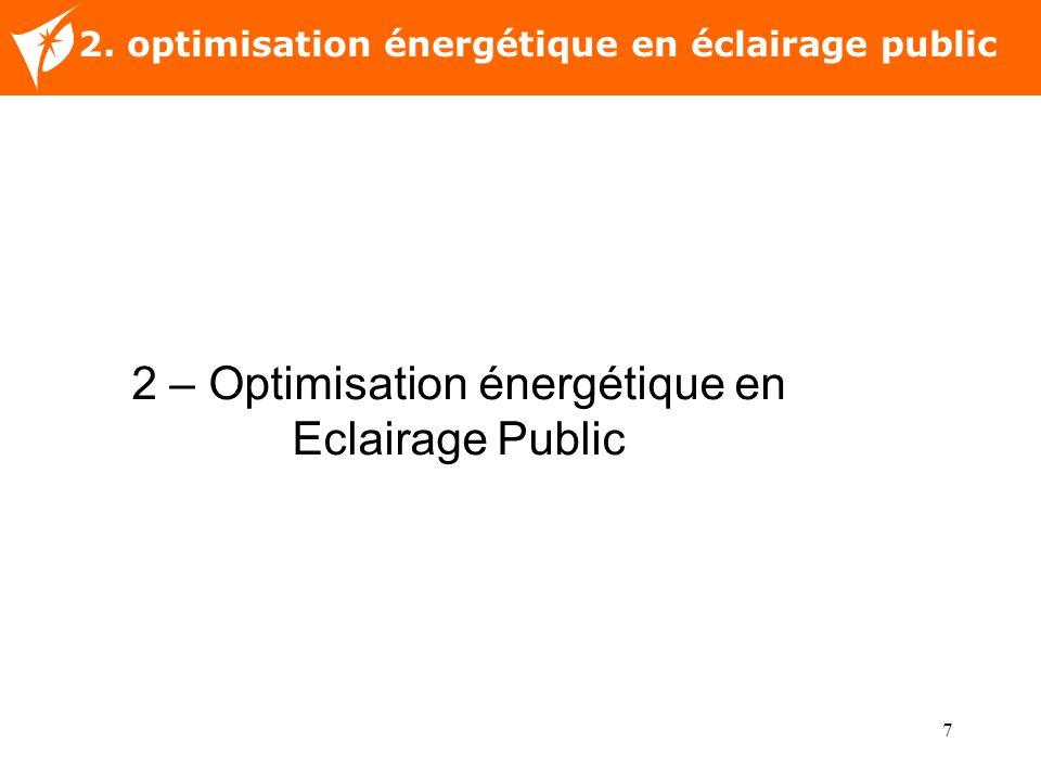 7 Nom de la diapositive 2. optimisation énergétique en éclairage public 2 – Optimisation énergétique en Eclairage Public