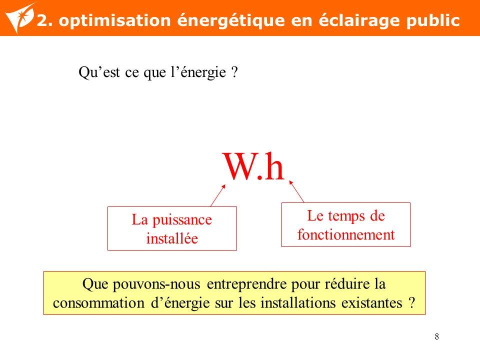 8 Nom de la diapositive 2. optimisation énergétique en éclairage public W.h Quest ce que lénergie ? La puissance installée Le temps de fonctionnement