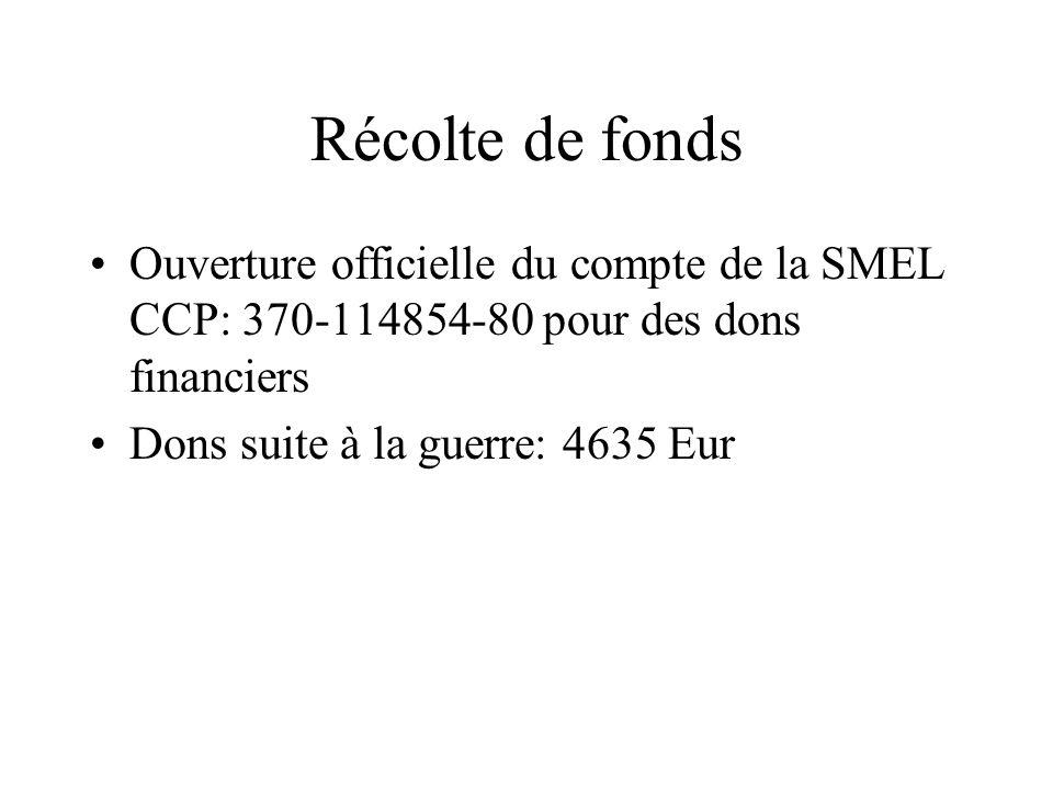 Récolte de fonds Ouverture officielle du compte de la SMEL CCP: 370-114854-80 pour des dons financiers Dons suite à la guerre: 4635 Eur