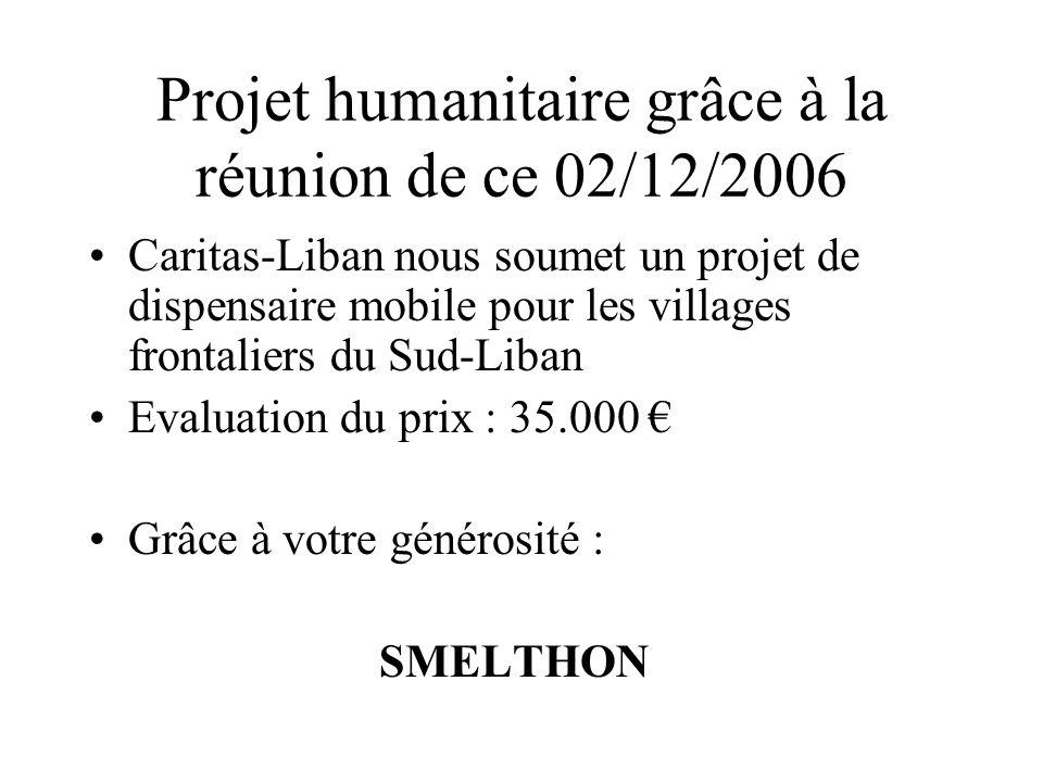 Projet humanitaire grâce à la réunion de ce 02/12/2006 Caritas-Liban nous soumet un projet de dispensaire mobile pour les villages frontaliers du Sud-