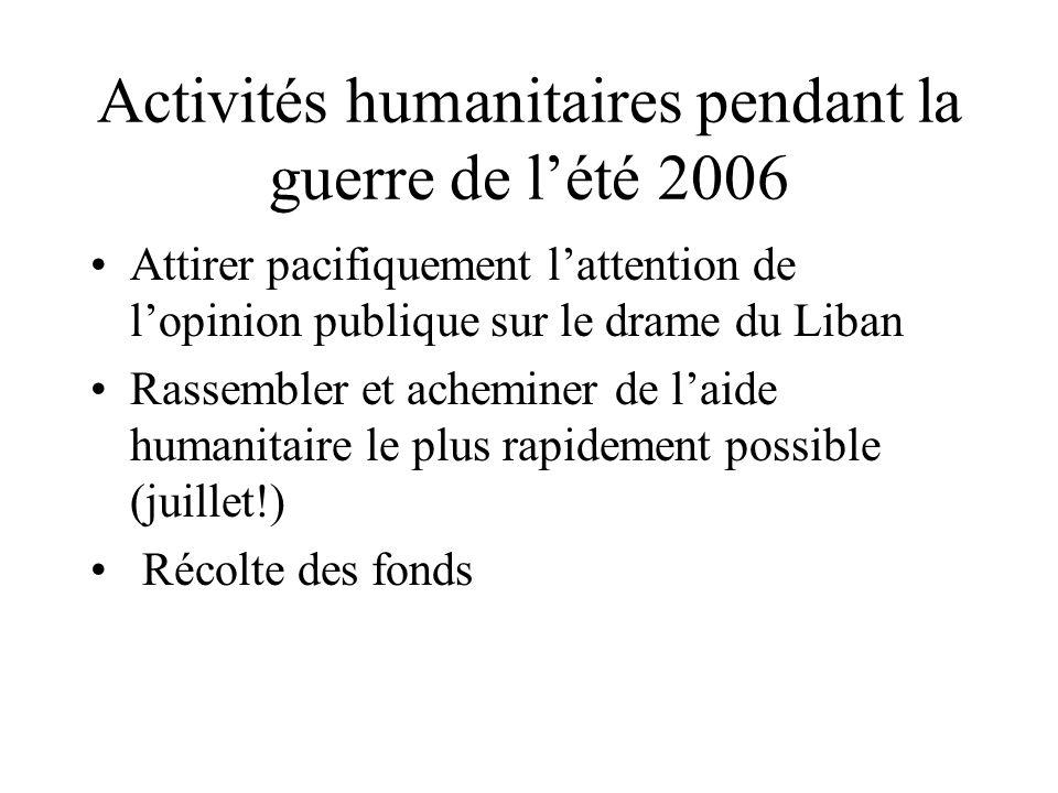 Activités humanitaires pendant la guerre de lété 2006 Attirer pacifiquement lattention de lopinion publique sur le drame du Liban Rassembler et achemi