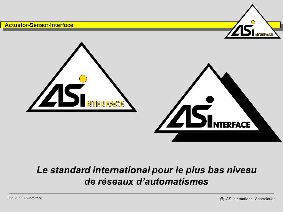 06/13/97 2 AS-Interface Actuator-Sensor-Interface @ AS-International Association 65 membres internationaux 8 groupes nationaux dutilisateurs Japon Pays Bas Italie Grande Bretagne Suisse USA France Belgique Allemagne L Association...
