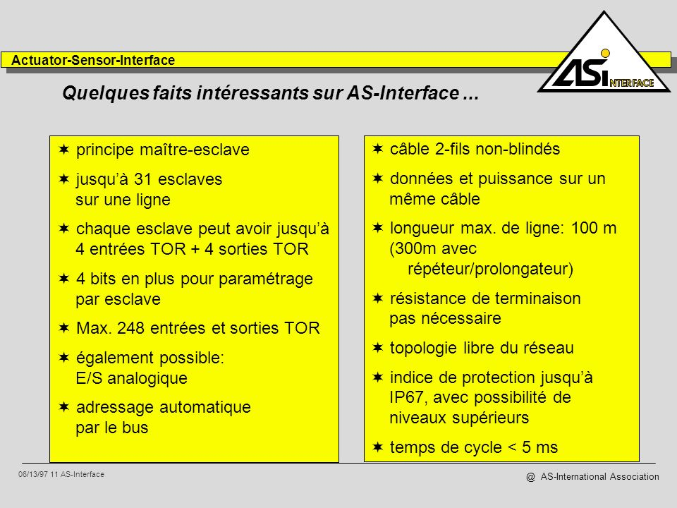 06/13/97 11 AS-Interface Actuator-Sensor-Interface @ AS-International Association Quelques faits intéressants sur AS-Interface... principe maître-escl