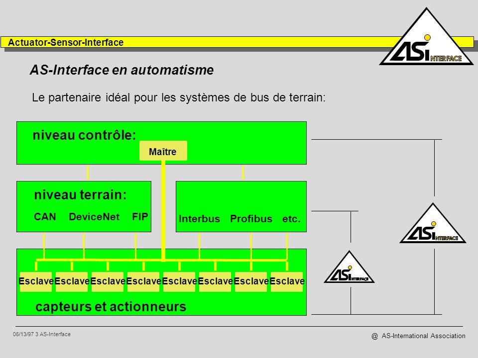 06/13/97 4 AS-Interface Actuator-Sensor-Interface @ AS-International Association Installation simple...