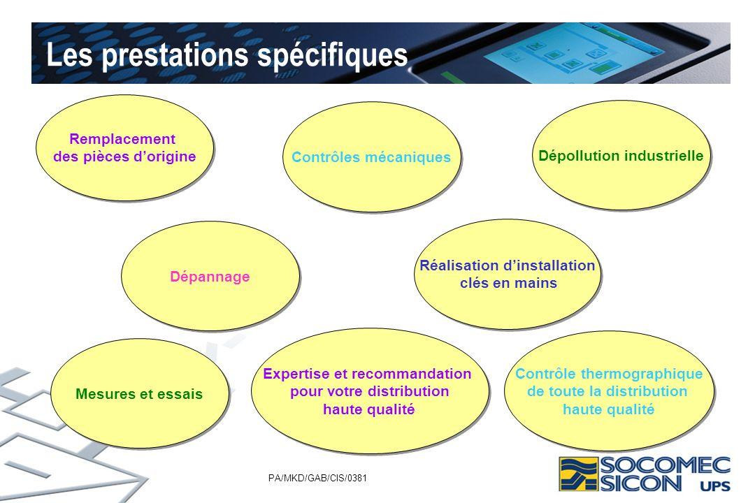 PA/MKD/GAB/CIS/0381 Les prestations spécifiques Remplacement des pièces dorigine Remplacement des pièces dorigine Contrôles mécaniques Réalisation din