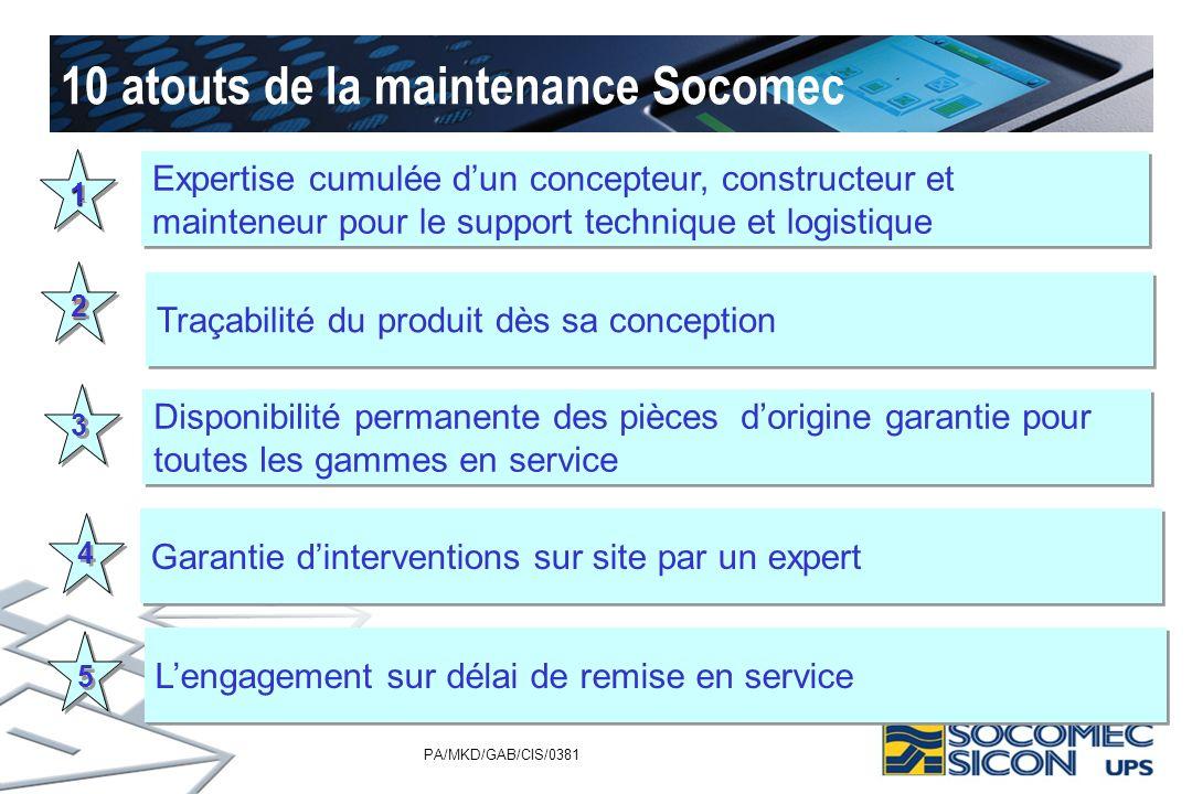 PA/MKD/GAB/CIS/0381 10 atouts de la maintenance Socomec 11 22 1 1 2 2 3 3 4 4 5 5 Expertise cumulée dun concepteur, constructeur et mainteneur pour le
