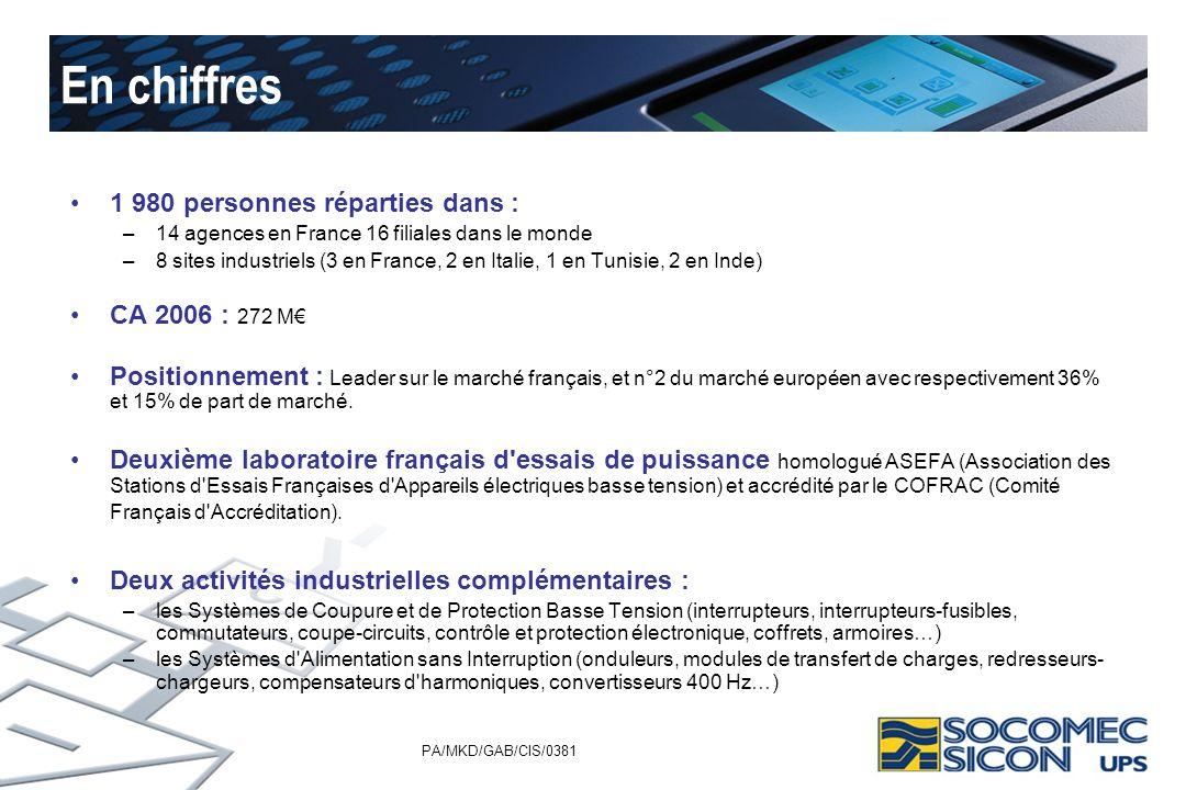PA/MKD/GAB/CIS/0381 En chiffres 1 980 personnes réparties dans : –14 agences en France 16 filiales dans le monde –8 sites industriels (3 en France, 2
