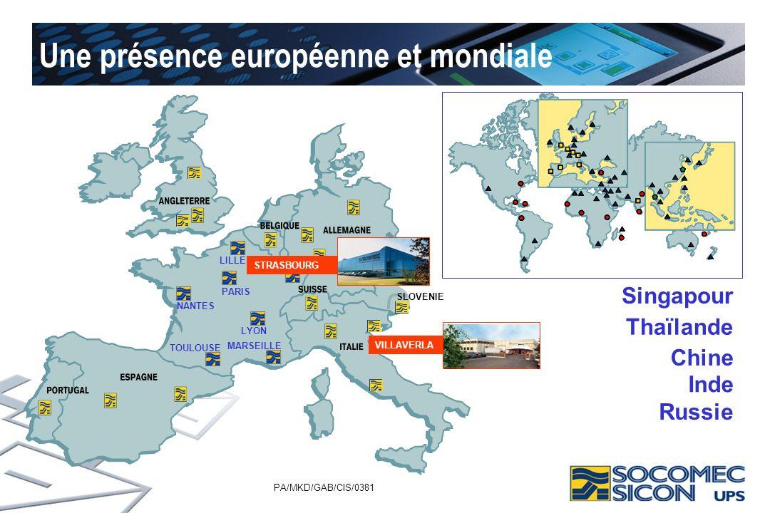 PA/MKD/GAB/CIS/0381 Une présence européenne et mondiale SLOVENIE PARIS NANTES LILLE STRASBOURG LYON MARSEILLE TOULOUSE Singapour Thaïlande Inde VILLAV