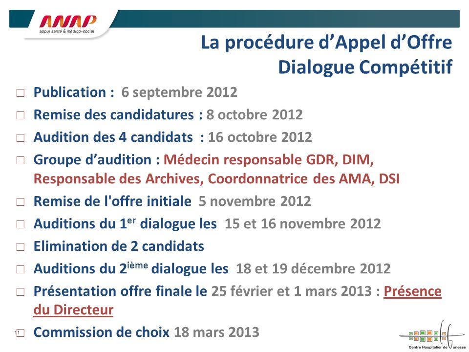 La procédure dAppel dOffre Dialogue Compétitif Publication : 6 septembre 2012 Remise des candidatures : 8 octobre 2012 Audition des 4 candidats : 16 o