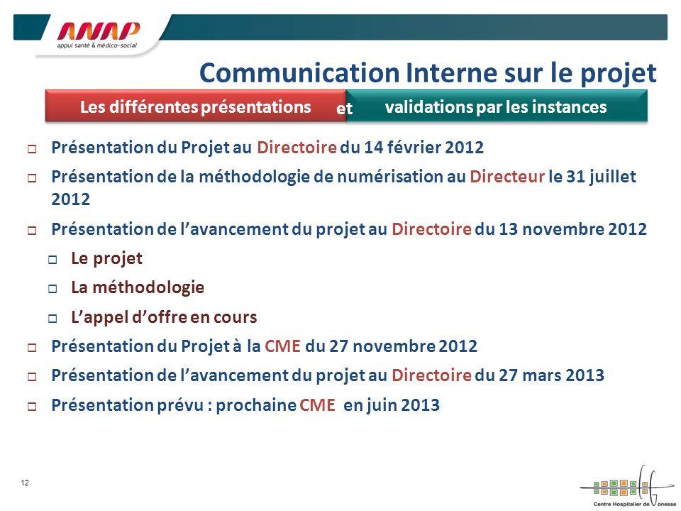 Communication Interne sur le projet Présentation du Projet au Directoire du 14 février 2012 Présentation de la méthodologie de numérisation au Directe