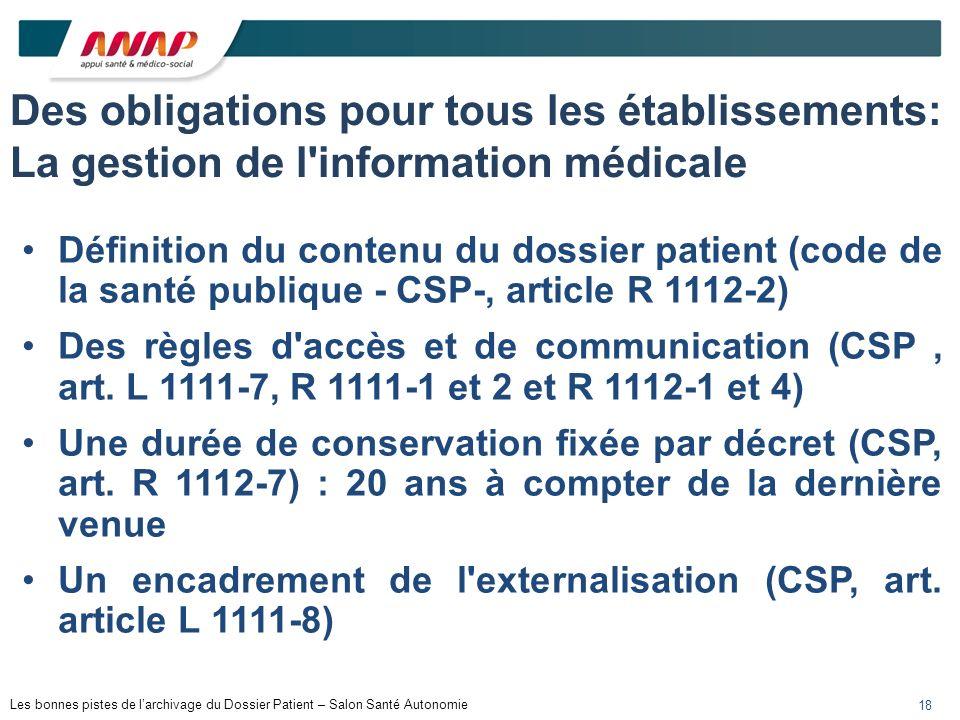 Les bonnes pistes de larchivage du Dossier Patient – Salon Santé Autonomie 18 Des obligations pour tous les établissements: La gestion de l'informatio