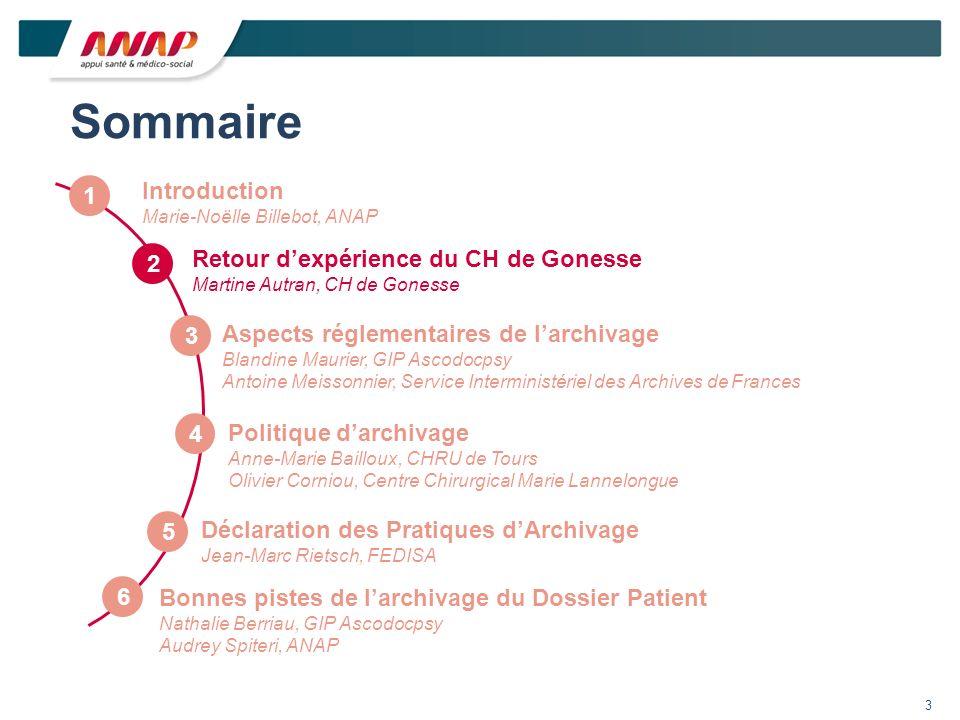 Sommaire 1 Aspects réglementaires de larchivage Blandine Maurier, GIP Ascodocpsy Antoine Meissonnier, Service Interministériel des Archives de Frances