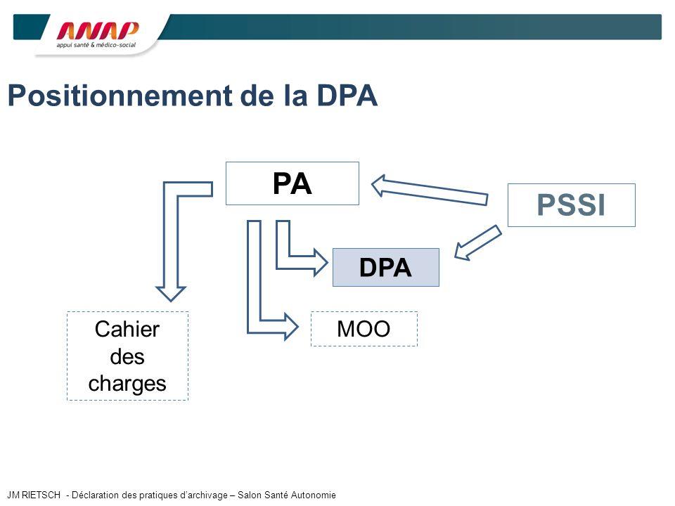 PA DPA MOO Positionnement de la DPA PSSI Cahier des charges JM RIETSCH - Déclaration des pratiques darchivage – Salon Santé Autonomie