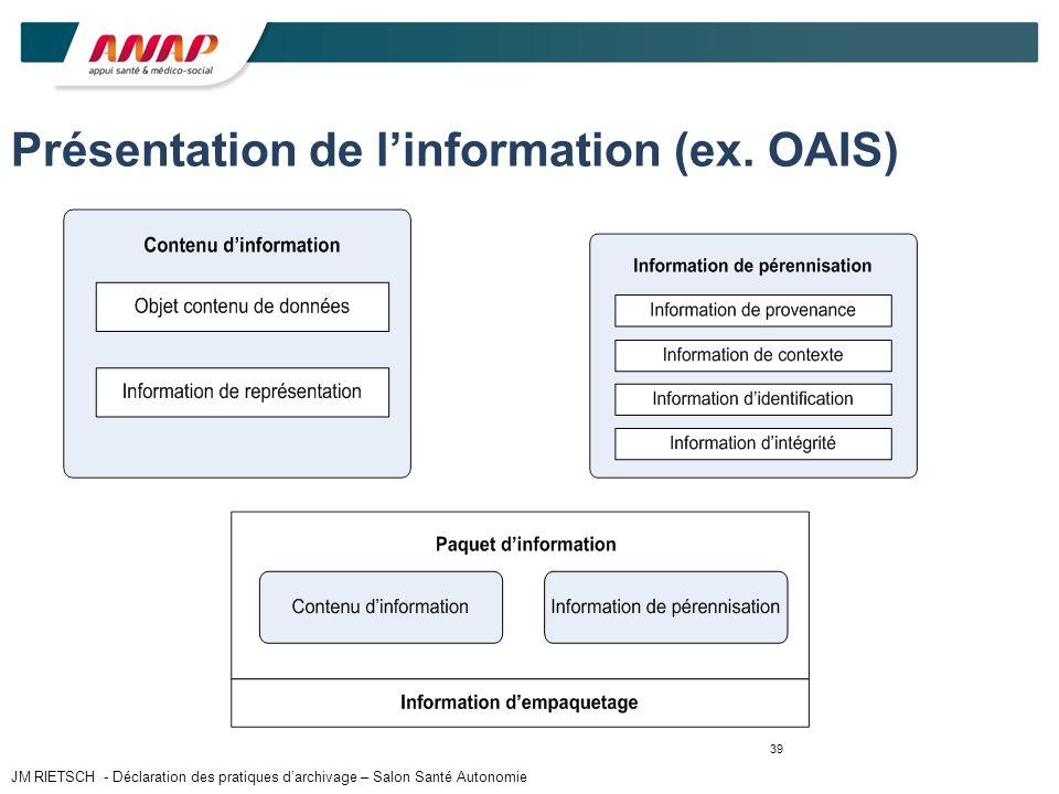 39 Présentation de linformation (ex. OAIS) JM RIETSCH - Déclaration des pratiques darchivage – Salon Santé Autonomie