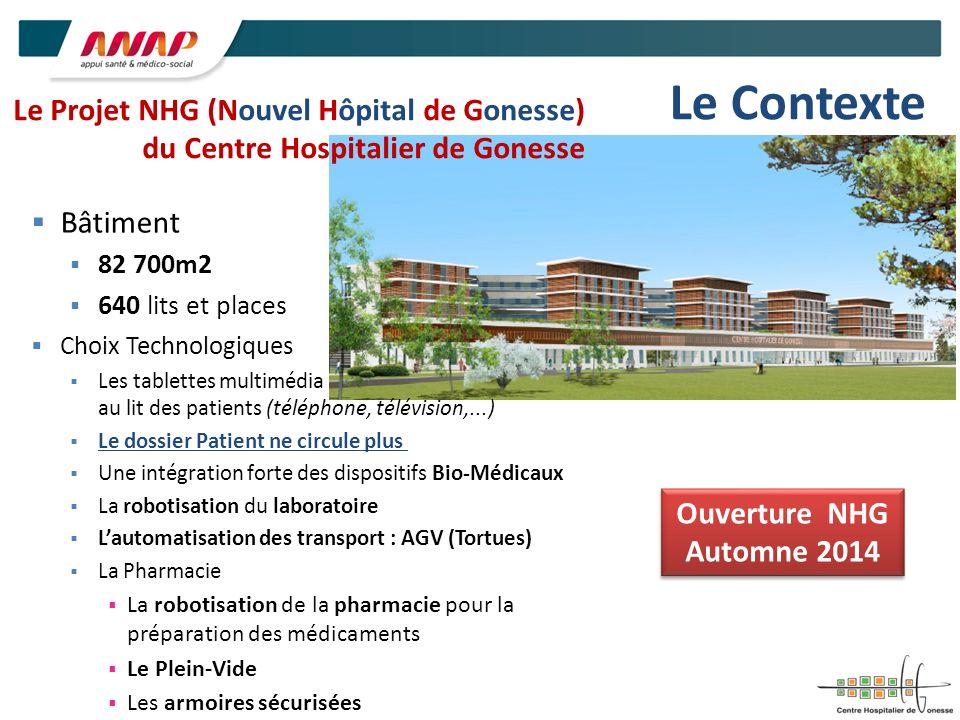 Le Projet NHG (Nouvel Hôpital de Gonesse) du Centre Hospitalier de Gonesse Bâtiment 82 700m2 640 lits et places Choix Technologiques Les tablettes mul