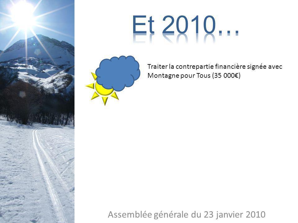 Assemblée générale du 23 janvier 2010 Traiter la contrepartie financière signée avec Montagne pour Tous (35 000)