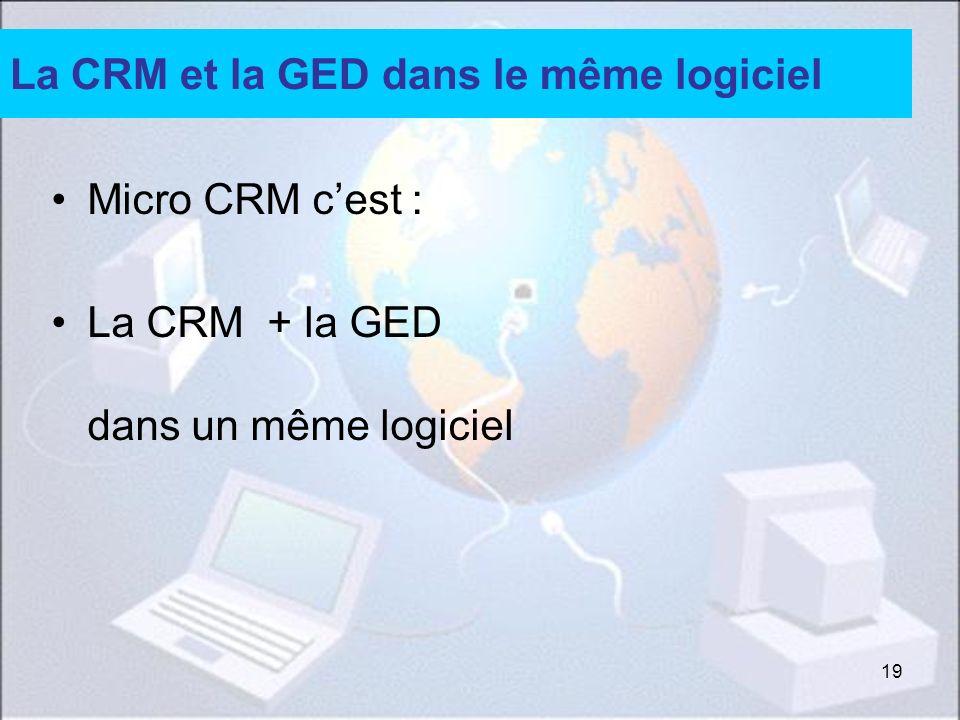 19 La CRM et la GED dans le même logiciel Micro CRM cest : La CRM + la GED dans un même logiciel