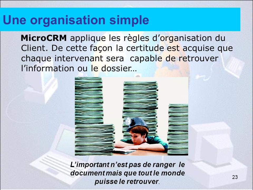 23 Une organisation simple MicroCRM applique les règles dorganisation du Client. De cette façon la certitude est acquise que chaque intervenant sera c