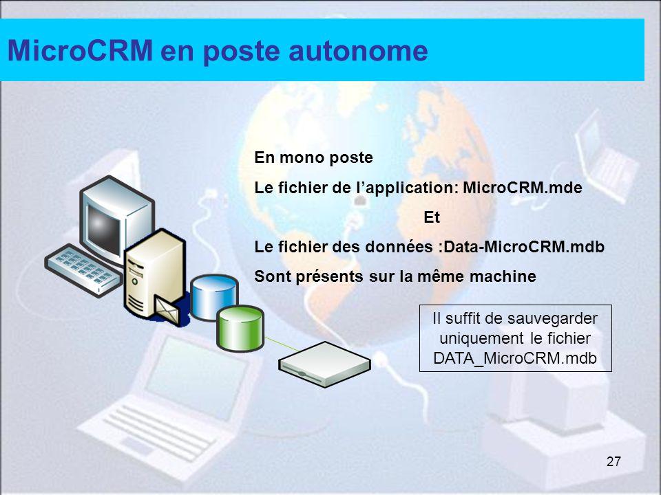 27 Il suffit de sauvegarder uniquement le fichier DATA_MicroCRM.mdb MicroCRM en poste autonome En mono poste Le fichier de lapplication: MicroCRM.mde Et Le fichier des données :Data-MicroCRM.mdb Sont présents sur la même machine