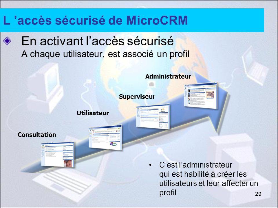 29 L accès sécurisé de MicroCRM En activant laccès sécurisé A chaque utilisateur, est associé un profil Cest ladministrateur qui est habilité à créer les utilisateurs et leur affecter un profil Consultation Utilisateur Superviseur Administrateur
