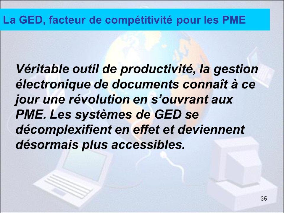 35 La GED, facteur de compétitivité pour les PME Véritable outil de productivité, la gestion électronique de documents connaît à ce jour une révolution en souvrant aux PME.