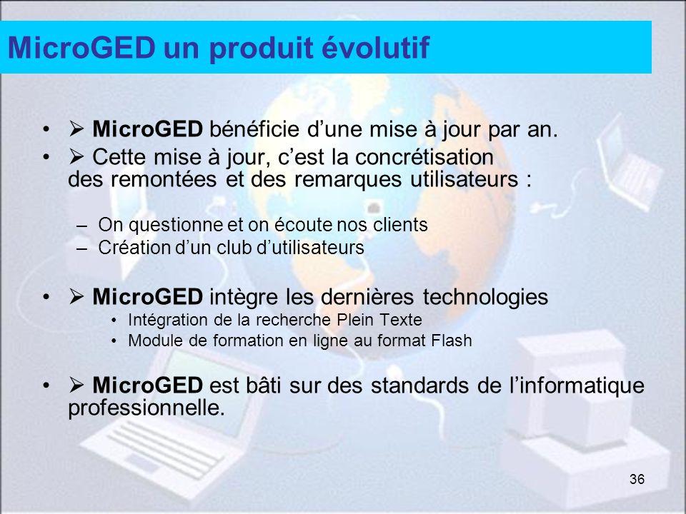 36 MicroGED un produit évolutif MicroGED bénéficie dune mise à jour par an. Cette mise à jour, cest la concrétisation des remontées et des remarques u