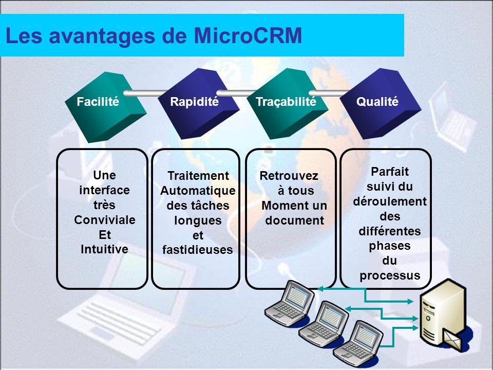 37 Les avantages de MicroCRM FacilitéRapiditéTraçabilitéQualité Une interface très Conviviale Et Intuitive Traitement Automatique des tâches longues e