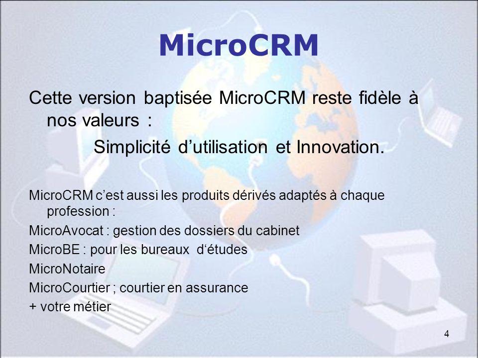4 MicroCRM Cette version baptisée MicroCRM reste fidèle à nos valeurs : Simplicité dutilisation et Innovation. MicroCRM cest aussi les produits dérivé
