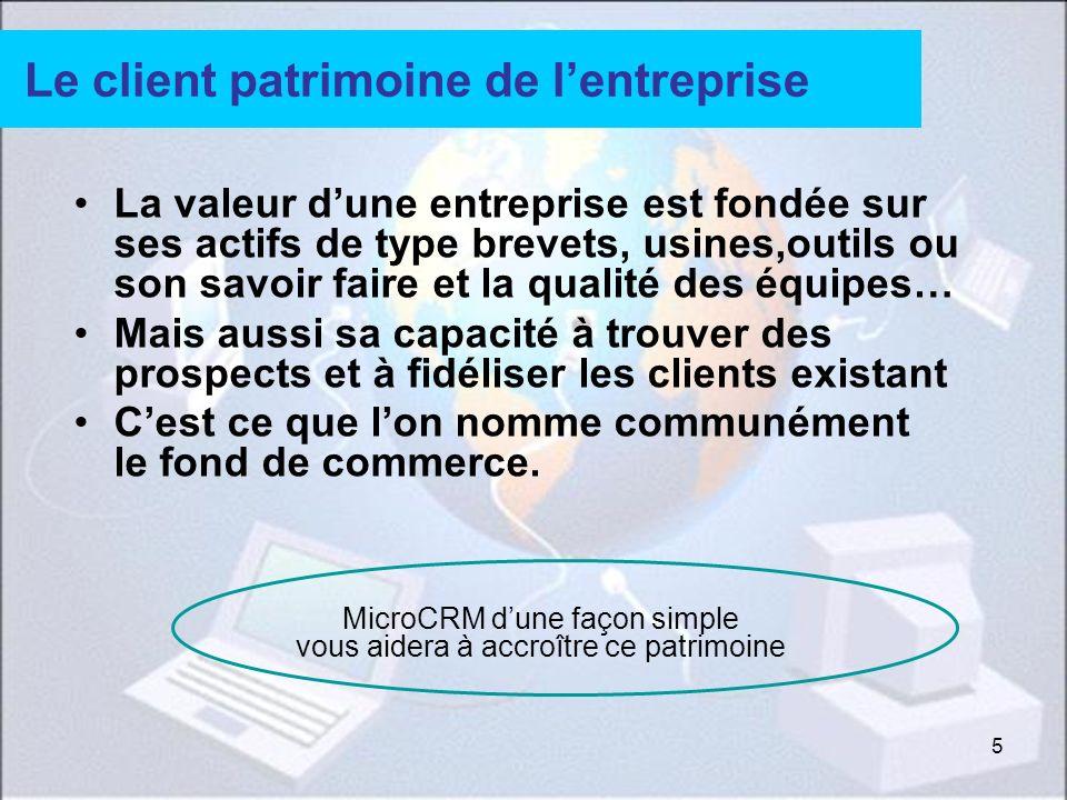 5 Le client patrimoine de lentreprise La valeur dune entreprise est fondée sur ses actifs de type brevets, usines,outils ou son savoir faire et la qua
