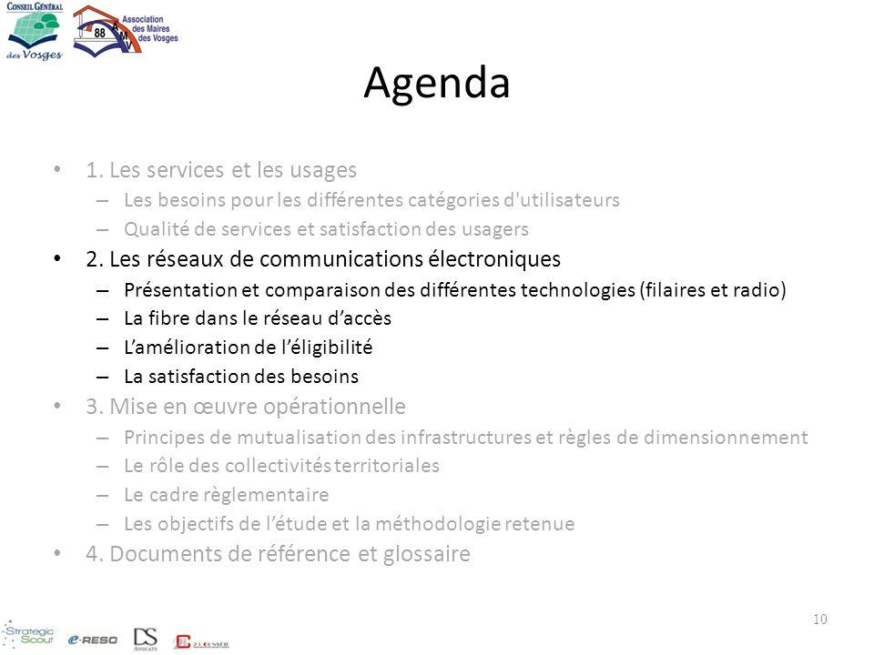 10 Agenda 1. Les services et les usages – Les besoins pour les différentes catégories d'utilisateurs – Qualité de services et satisfaction des usagers