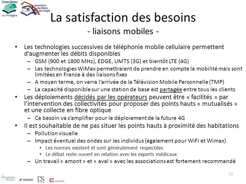 La satisfaction des besoins - liaisons mobiles - Les technologies successives de téléphonie mobile cellulaire permettent daugmenter les débits disponi