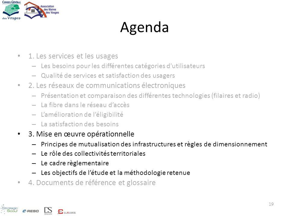 19 Agenda 1. Les services et les usages – Les besoins pour les différentes catégories d'utilisateurs – Qualité de services et satisfaction des usagers