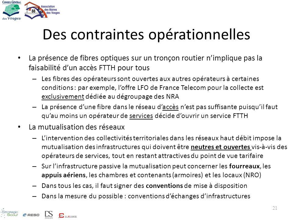 Des contraintes opérationnelles La présence de fibres optiques sur un tronçon routier nimplique pas la faisabilité dun accès FTTH pour tous – Les fibr