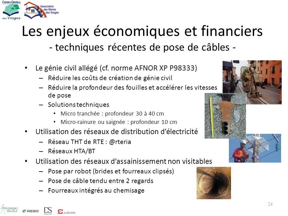 Les enjeux économiques et financiers - techniques récentes de pose de câbles - Le génie civil allégé (cf. norme AFNOR XP P98333) – Réduire les coûts d