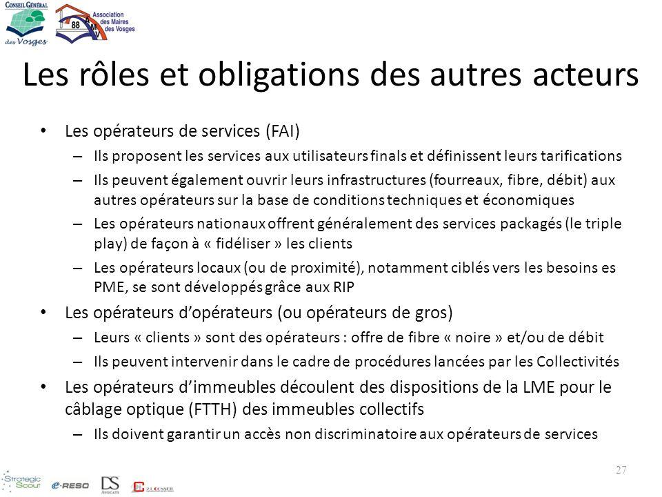 Les rôles et obligations des autres acteurs Les opérateurs de services (FAI) – Ils proposent les services aux utilisateurs finals et définissent leurs