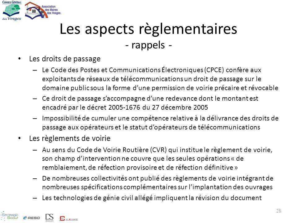 Les aspects règlementaires - rappels - Les droits de passage – Le Code des Postes et Communications Électroniques (CPCE) confère aux exploitants de ré