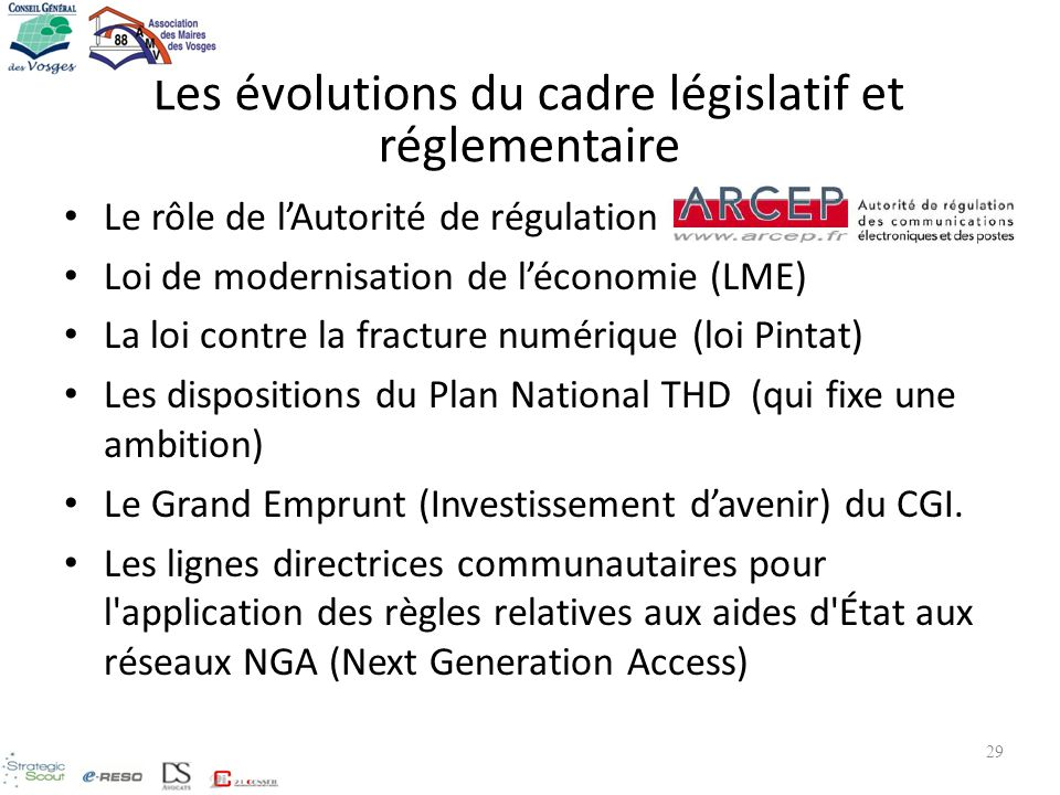 Les évolutions du cadre législatif et réglementaire Le rôle de lAutorité de régulation Loi de modernisation de léconomie (LME) La loi contre la fractu