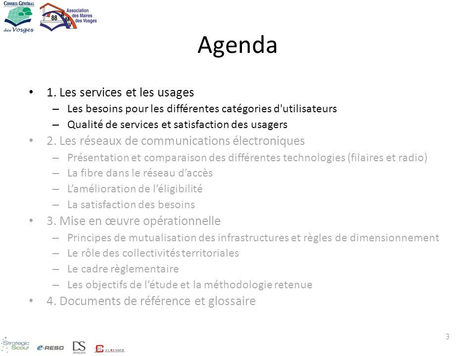3 Agenda 1. Les services et les usages – Les besoins pour les différentes catégories d'utilisateurs – Qualité de services et satisfaction des usagers