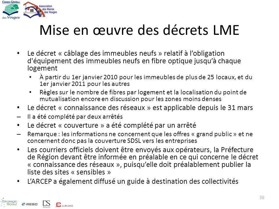 Mise en œuvre des décrets LME Le décret « câblage des immeubles neufs » relatif à lobligation d'équipement des immeubles neufs en fibre optique jusquà