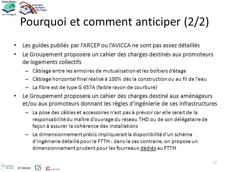Pourquoi et comment anticiper (2/2) Les guides publiés par lARCEP ou lAVICCA ne sont pas assez détaillés Le Groupement proposera un cahier des charges