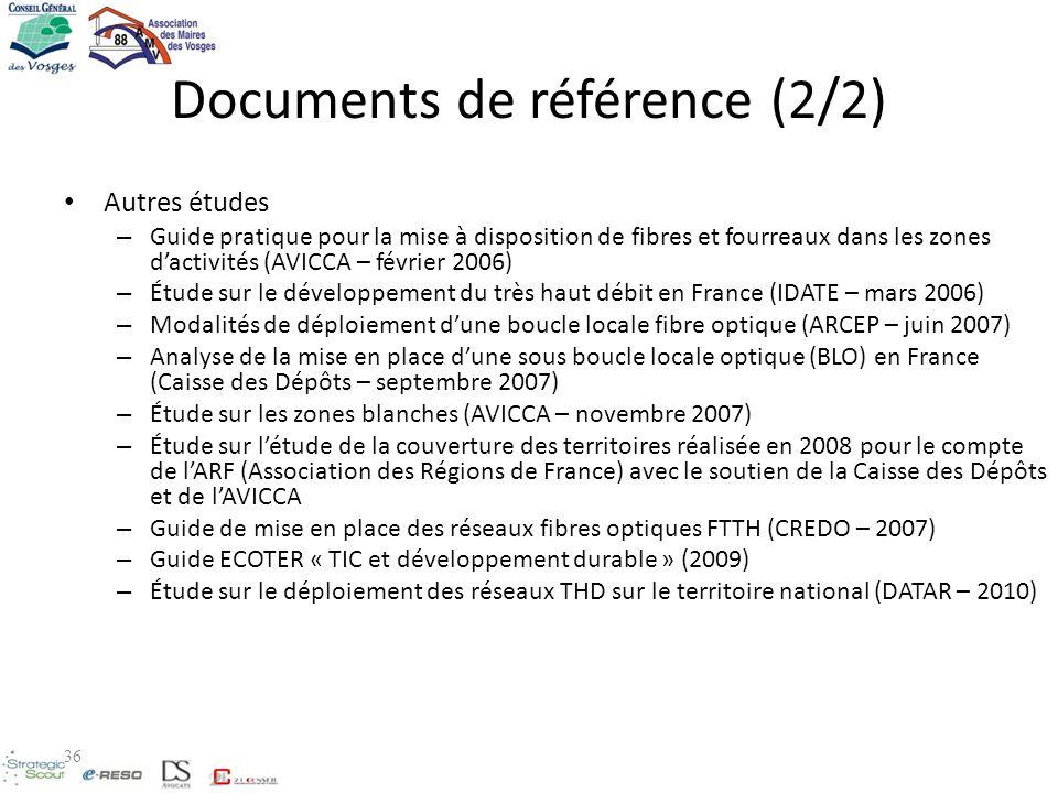 Documents de référence (2/2) Autres études – Guide pratique pour la mise à disposition de fibres et fourreaux dans les zones dactivités (AVICCA – févr