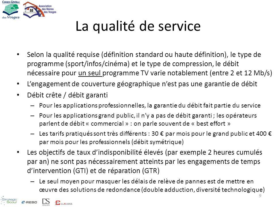 La qualité de service Selon la qualité requise (définition standard ou haute définition), le type de programme (sport/infos/cinéma) et le type de comp